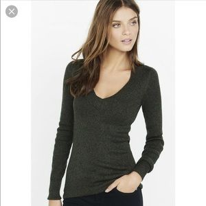 {Express} Marled Fitted V Neck Sweater